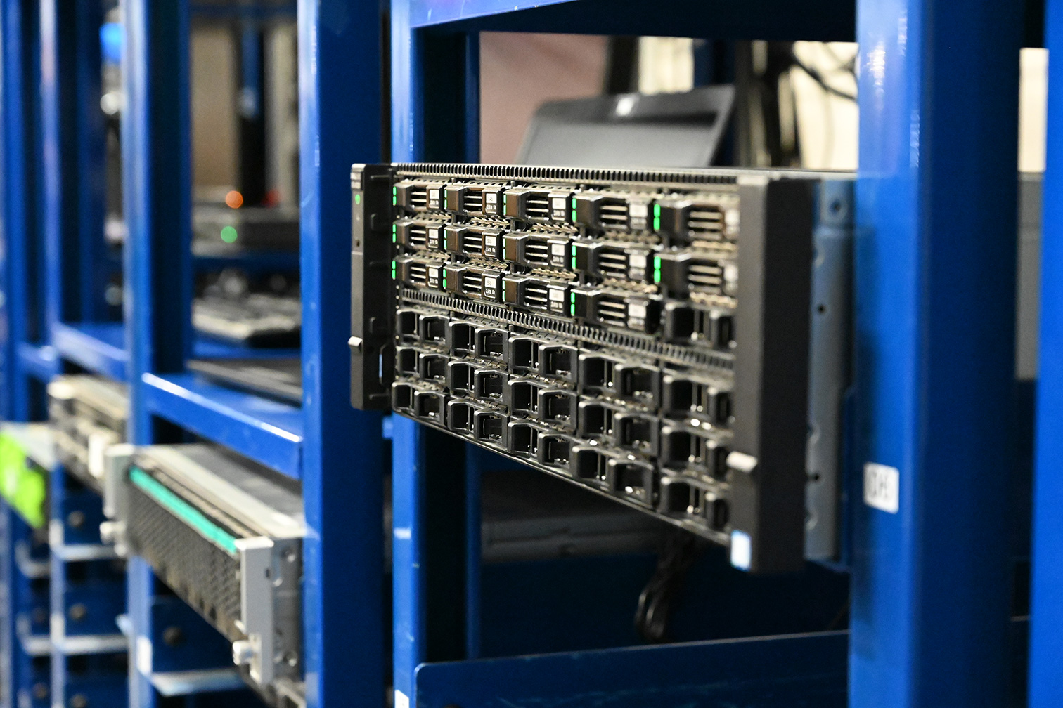 Close up of a server rack in WCA warehouse